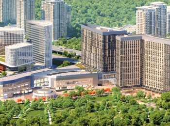 Вид на апарт-отель YE'S Ботанический сад, бизнес центр и торговый центр